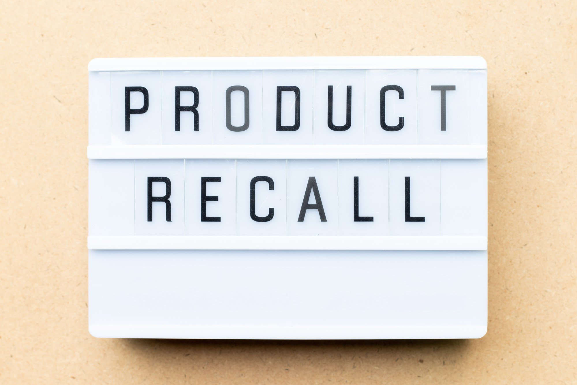Product recall sign regarding the hazardous consumer products recalled by Health Canada